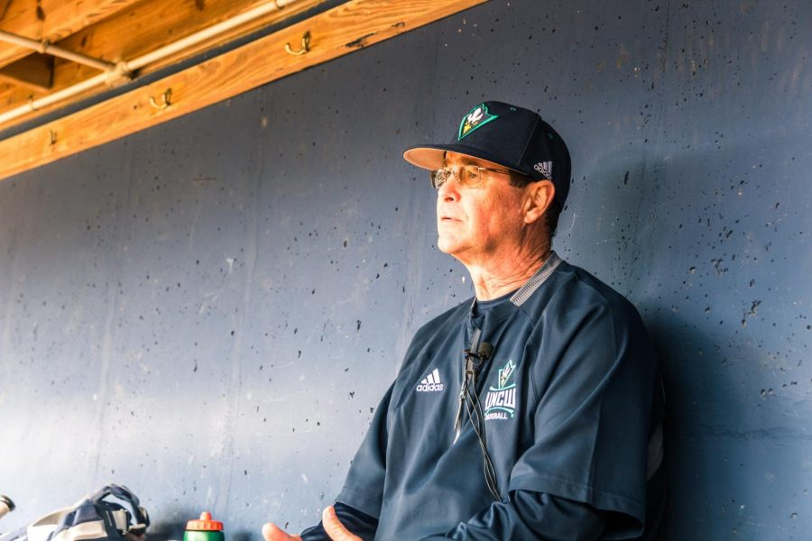 UNCW+head+baseball+coach+Mark+Scalf+returns+for+his+27th+season+with+the+Seahawks.+He+spoke+with+media+on+Feb.+7+at+the+team%27s+annual+media+day.