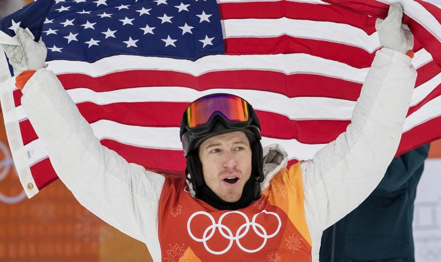 Shaun White reacts after winning the gold medal in the Men's Half Pipe Snowboard finals at Phoenix Park in South Korea on Wednesday, Feb. 14, 2018, during the Pyeongchang Winter Olympics.