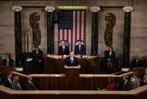 Donald Trump delivering his first State of the Union address courtesy of Tribune News Service  (Olivier Douliery/Abaca Press)