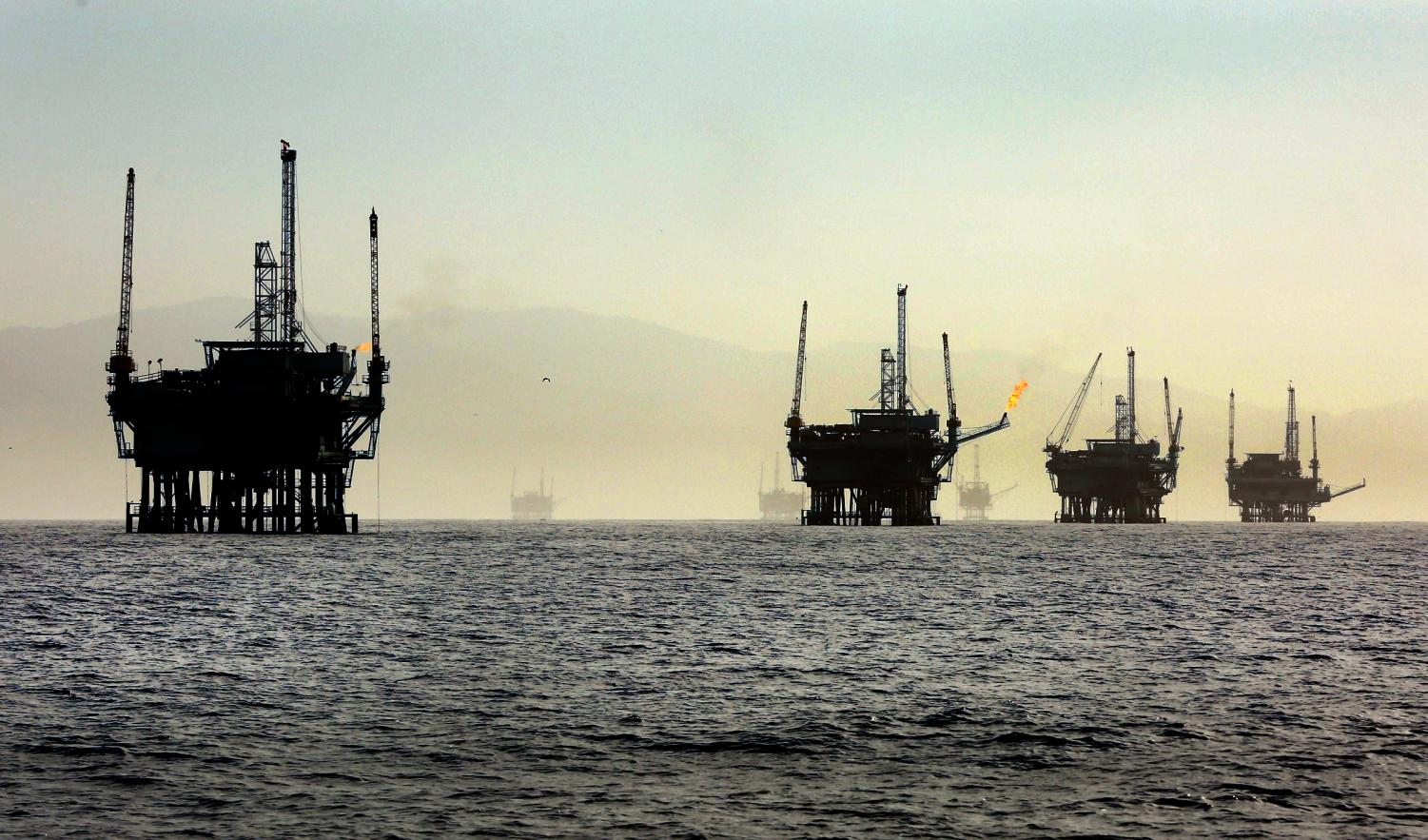 A line of off-shore oil rigs in the Santa Barbara Channel near the Federal Ecological Preserve en route to the Channel Islands National Marine Sanctuary in March 2015.