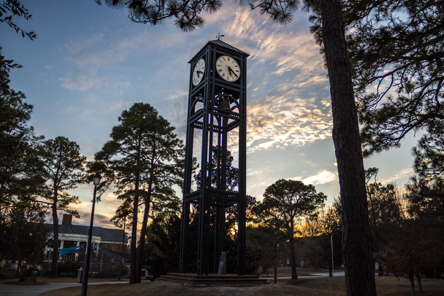 UNCW's clock tower in front of Randall Library.
