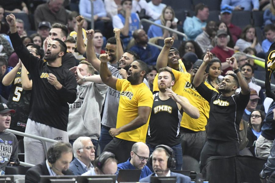UMBC+fans+cheer+their+team+during+a+break+in+the+game+against+Kansas+State+during+the+second+round+of+the+NCAA+tournament+on+Sunday%2C+March+18%2C+2018+at+the+Spectrum+Center+in+Charlotte%2C+N.C.