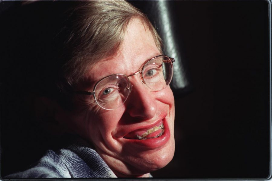 Theoretical physicist Stephen Hawking in his Caltech office in Pasadena, Calif., on February 5, 1997. Hawking died on Wednesday, March 14, 2018, at 76.
