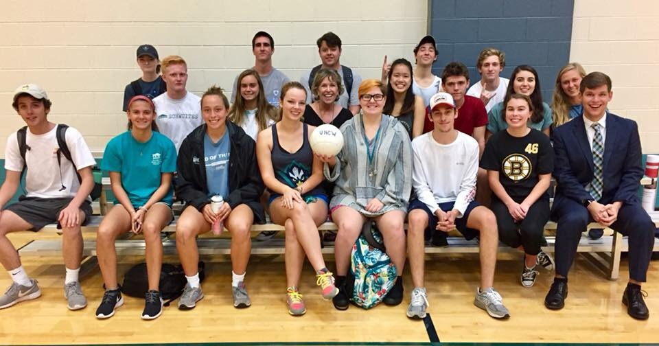 Alex Patton, far right in front row, a junior at UNCW and former Seahawk Link, pictured with his Freshman Seminar class.