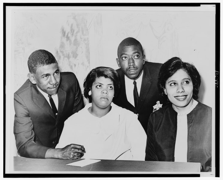 Linda Brown (center) with Ethel Brown, Harry Briggs and Spottswood Bolling Jr. Public domain image courtesy of The Library of Congress.