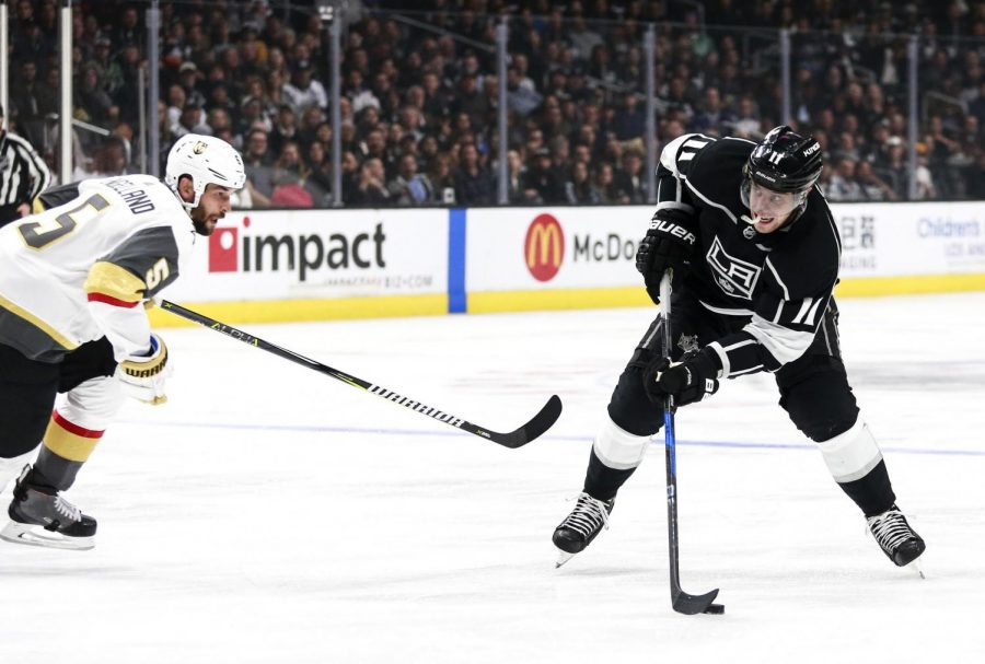 The Los Angeles Kings' Anze Kopitar, right, controls the puck against Vegas Golden Knights defenseman Deryk Engelland on February 26, 2017, at Staples Center in Los Angeles. The two teams clash again on Tuesday, Feb. 27, 2018, in Las Vegas.