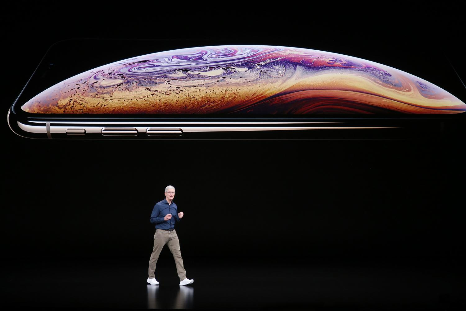 Tim Cook introduces Apple's new smartphone, the iPhone XS, Wednesday, Sept. 12, 2018, at company headquarters in Cupertino, Calif. (Karl Mondon/Bay Area News Group/TNS)
