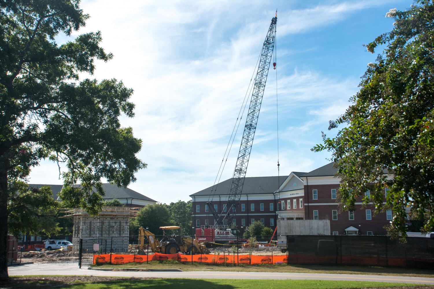 Construction continues on UNCW campus in front of McNeill Hall