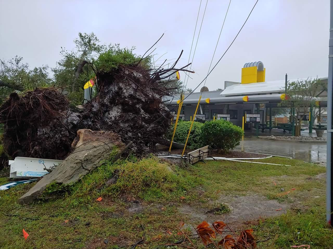 The Sonic Drive-In on Market Street suffered damage from fallen trees in the form of a collapsed canopy from Hurricane Florence.