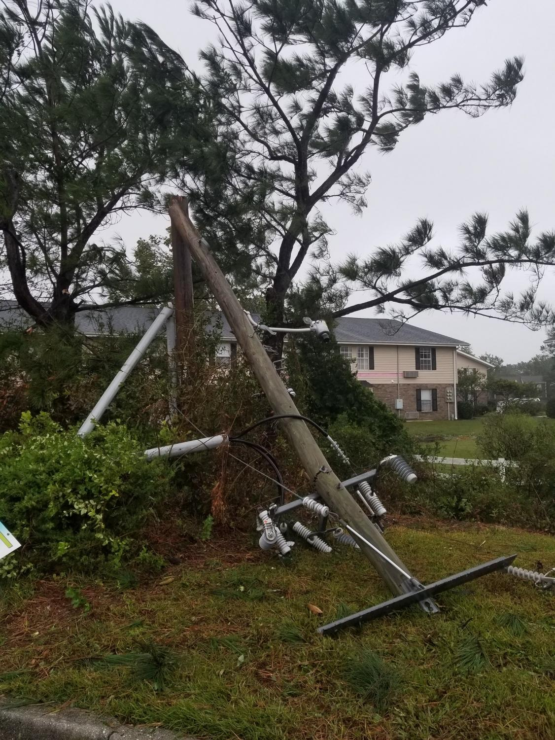 Power+lines+and+poles+were+damaged+severely+by+Hurricane+Florence%2C+leaving+hundreds+of+thousands+of+customers+in+Wilmington+and+surrounding+counties+without+power+for+days.