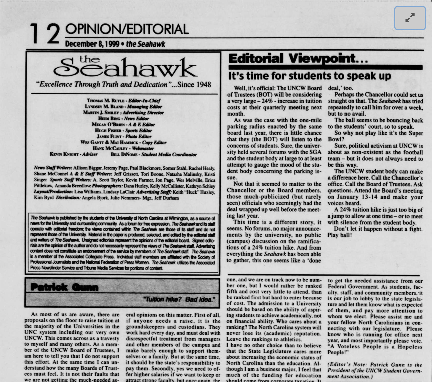The opinion/editorial section of The Seahawk in 1999.