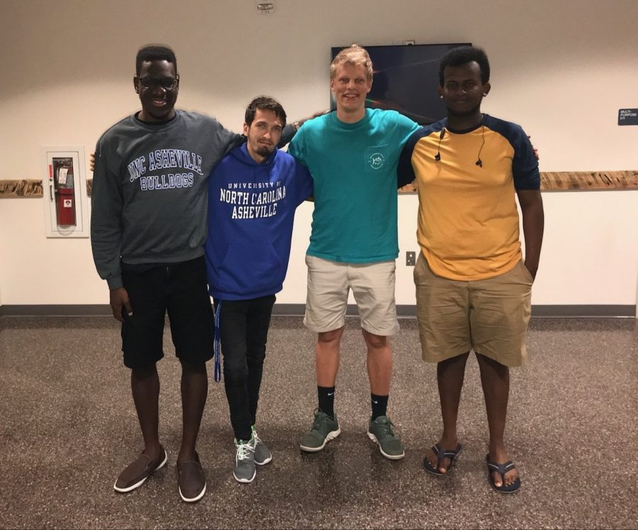From left to right: UNC Wilmington students Lanre Badmus, Jay Parrack, Eddy Cornish and Anamo Kisho were among nearly a dozen UNCW students who took refuge at UNC Asheville during UNCW's evacuation ahead of Hurricane Florence.