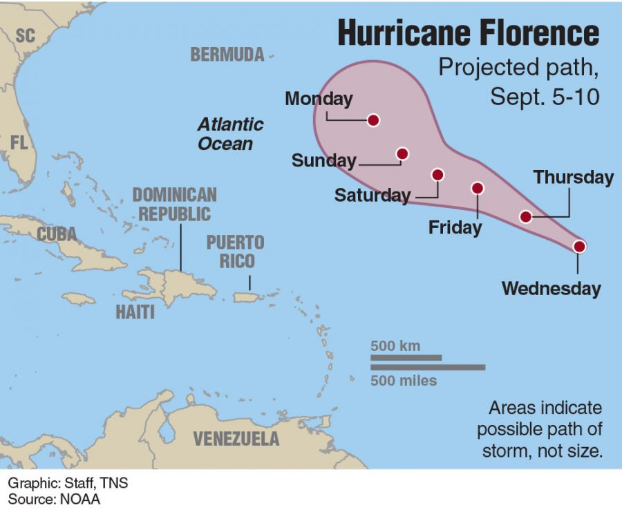 Map+showing+path+of+Hurricane+Florence.+Graphic+courtesy+of+TNS+and+NOAA
