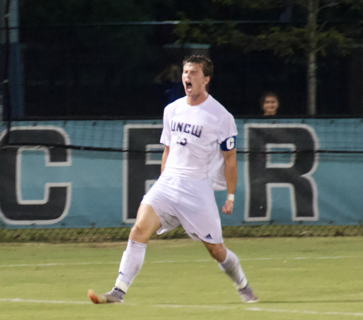 No. 10 Phillip Goodrum celebrates after scoring