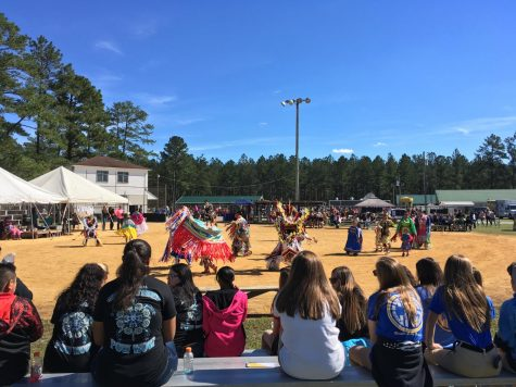 Members of the Waccamaw Siouan Tribe dance for the audience at the 48th Annual Waccamaw Siouan Pow Wow in Bolton, North Carolina, on Oct. 18, 2018.