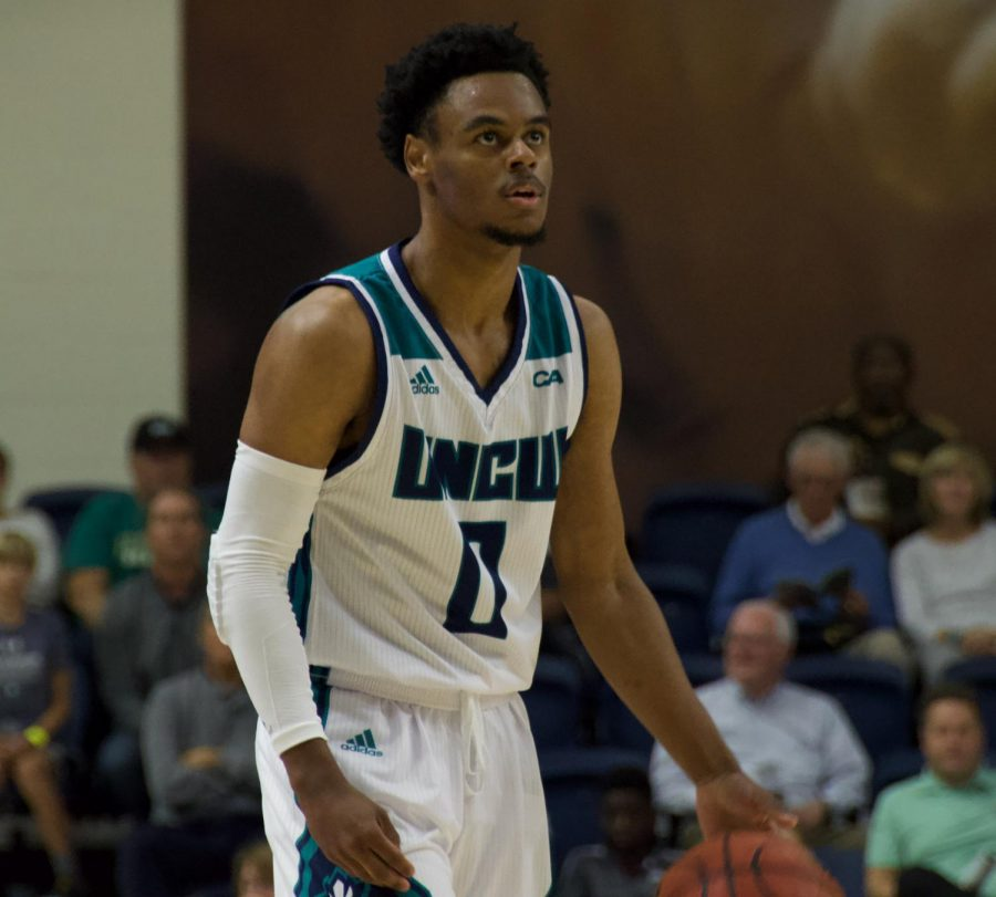 Ty Gadsden (0) during UNCW's Tuesday night game v.s. UNC Greensboro
