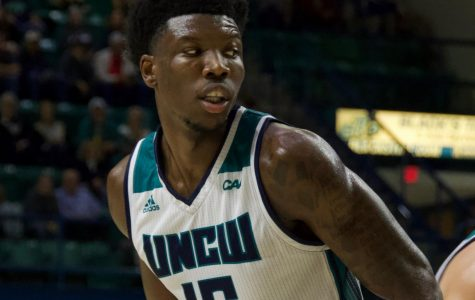 Devontae Cacok (15) during UNCW's Tuesday night game v.s. UNC Greensboro