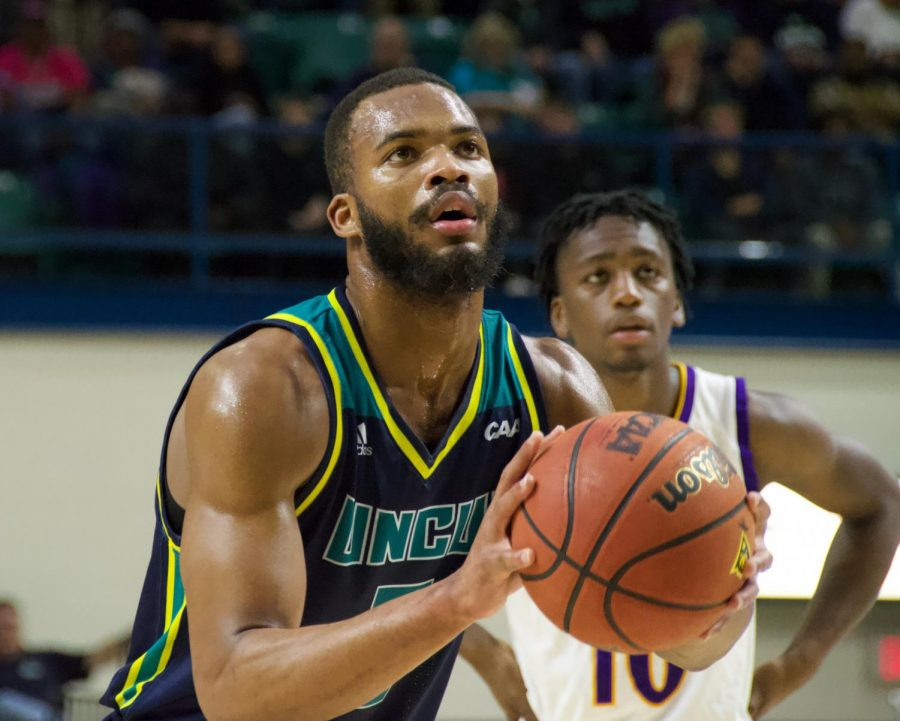 Jeantal+Cylla+%282%29+attempts+a+free+throw+during+UNCW%27s+matchup+against+East+Carolina+on+Nov.+27%2C+2018.+