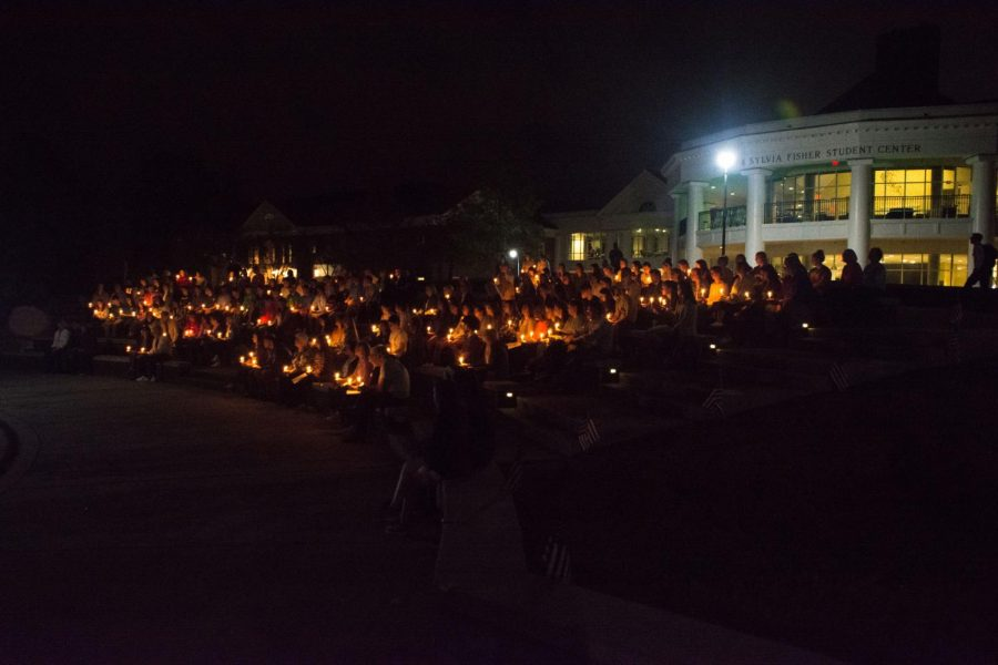 Attendees listened tentatively as speakers honored the victims of the Tree of Life Synagogue shooting in the campus amphitheater on Monday, Nov. 5.