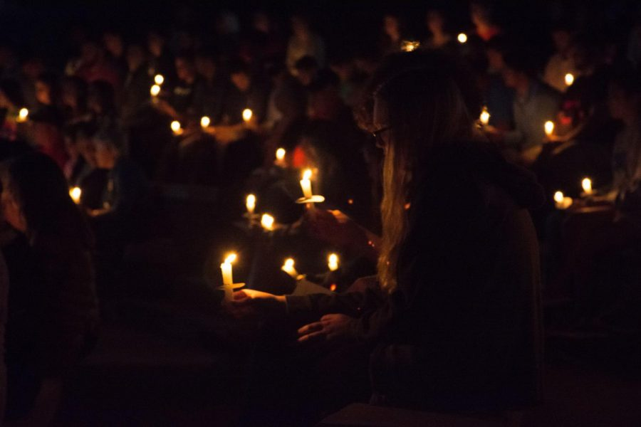 Each individual in the crowd was given a candle for the service.