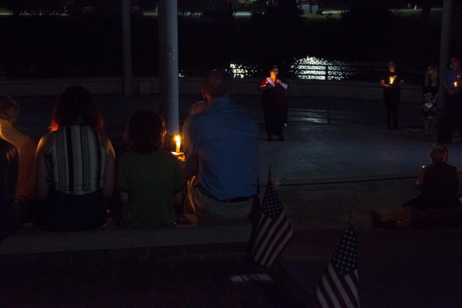UNCW Students and faculty spoke alongside rabbi Emily Losben-Ostrov at the vigil in the campus amphitheater on Monday, Nov. 5.