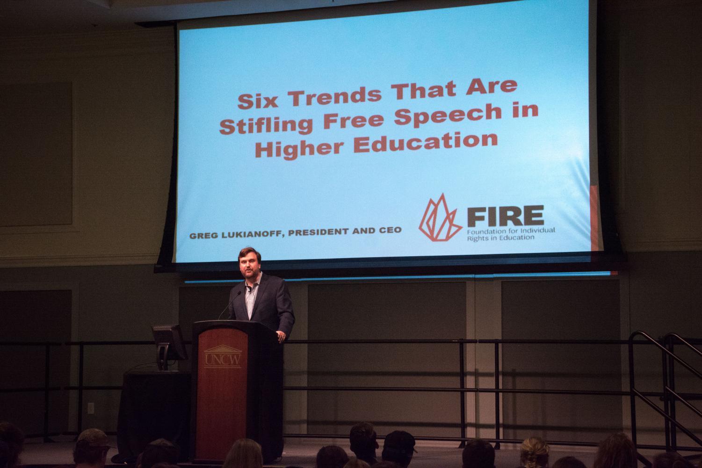 Greg Lukianoff speaking at UNCW's Leadership Lecture Series on Nov. 13, 2018.