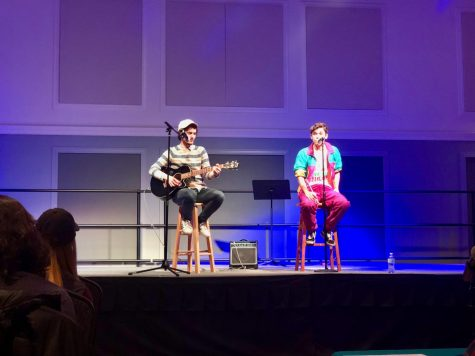 Singing duo J.D. Roberson and Ryan Wentz performing about their mutual ex-girlfriend