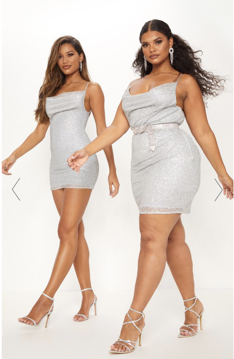 Different sized models side by side on PrettyLittleThing's website.