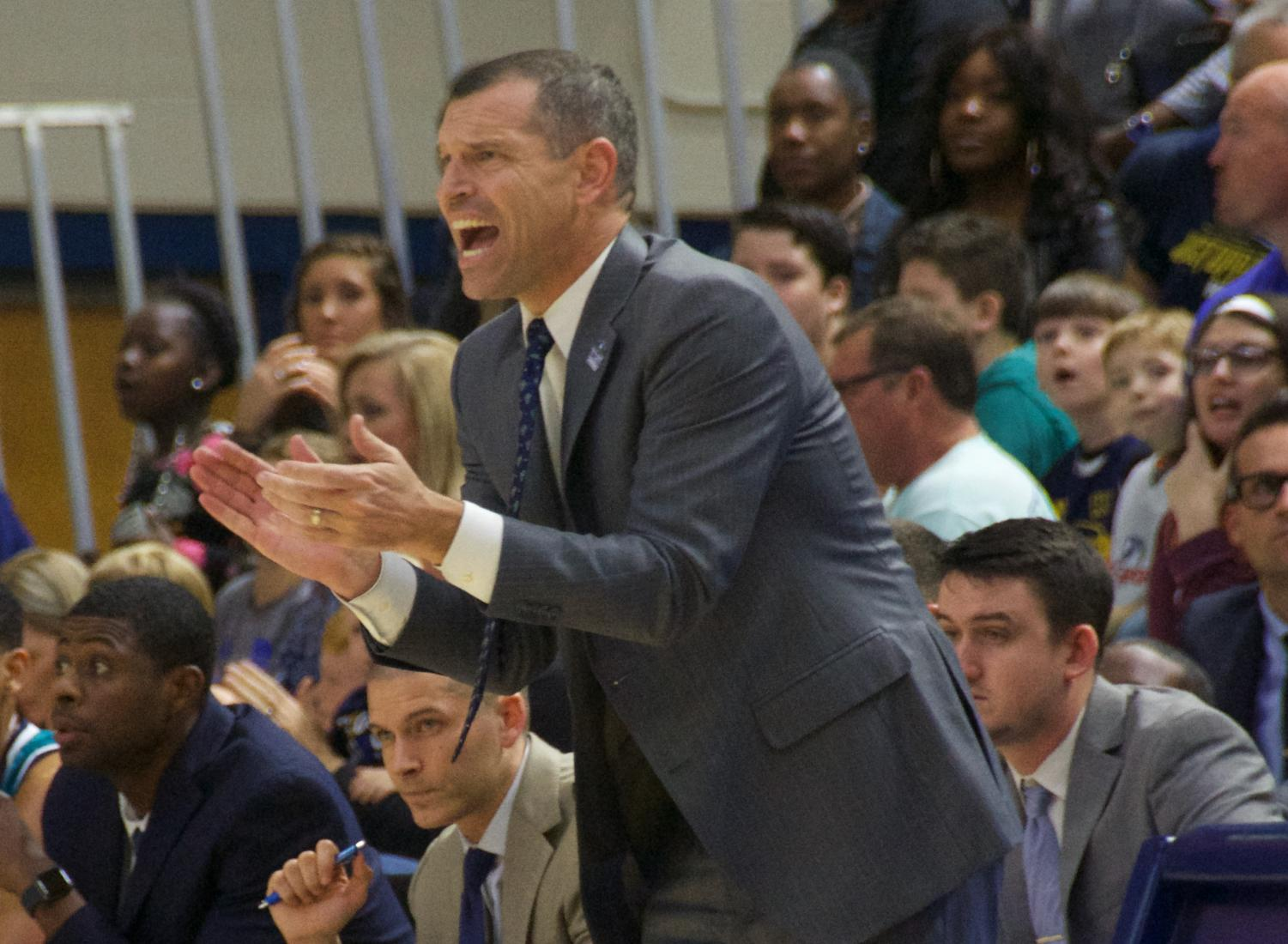 UNCW head coach C.B. McGrath during the Seahawks' conference opener against College of Charleston on Dec. 29, 2018.