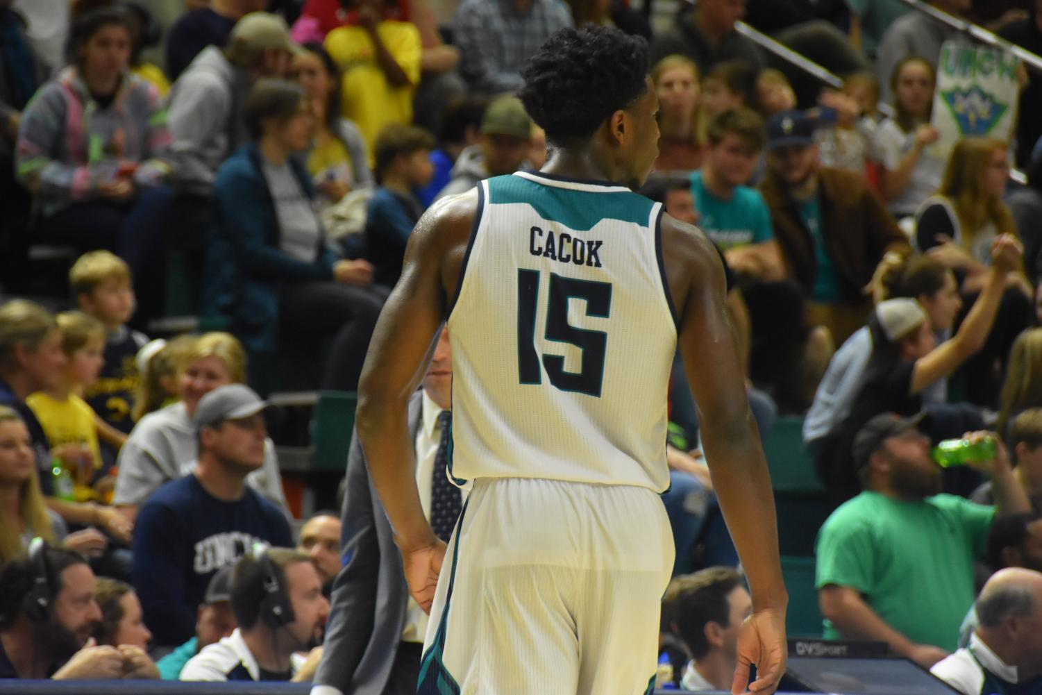 Devontae Cacok (15) during UNCW's conference opener against College of Charleston on Dec. 29, 2018.