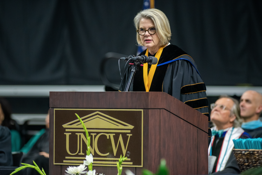 UNC+System+President+Margaret+Spellings+speaks+of+Hurricane+Florence%2C+transitional+times+in+life+and+UNCW%27s+resilience+in+her+commencement+address.+