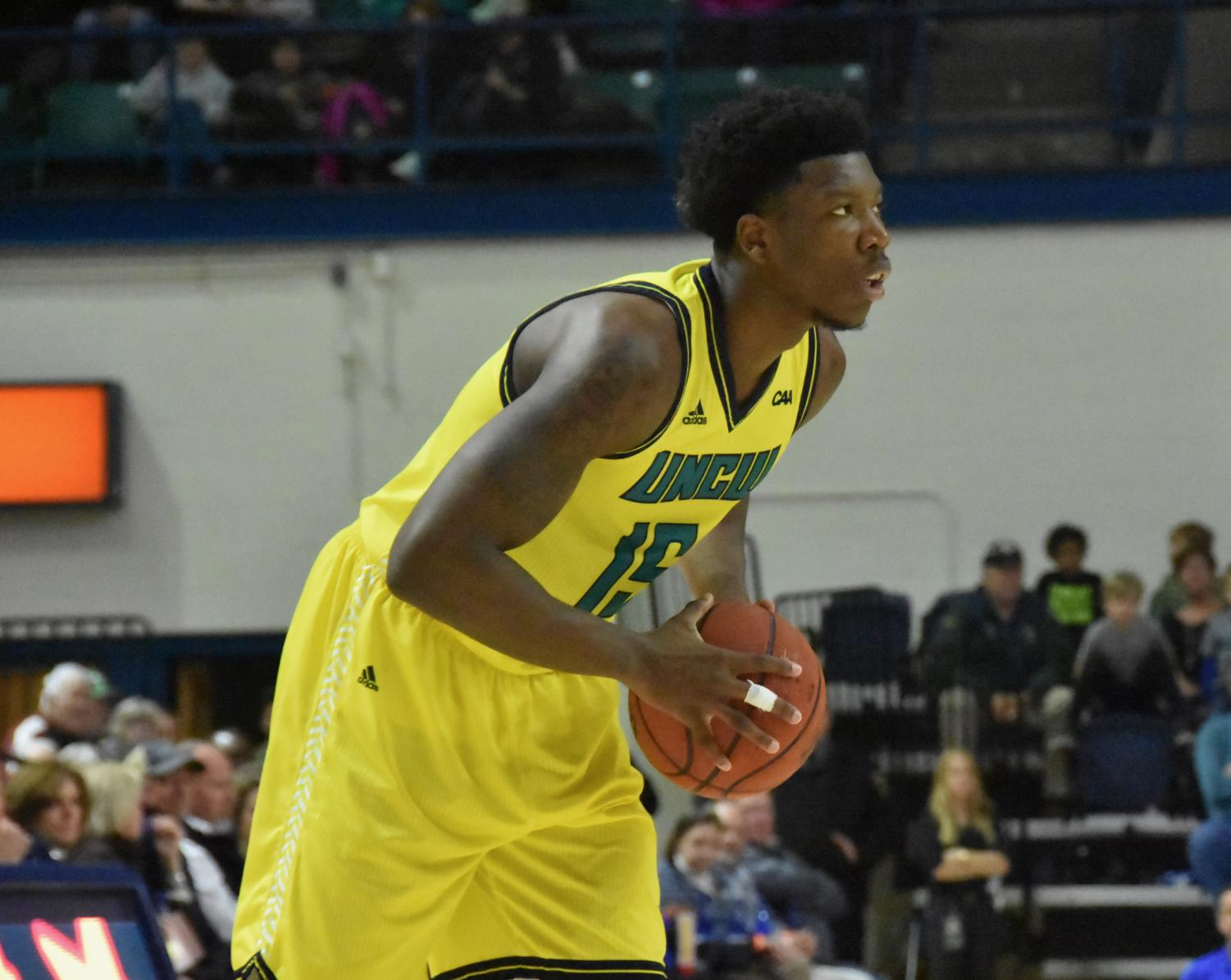 Devontae Cacok (15) during UNCW's home matchup with Delaware on Jan. 10, 2019.