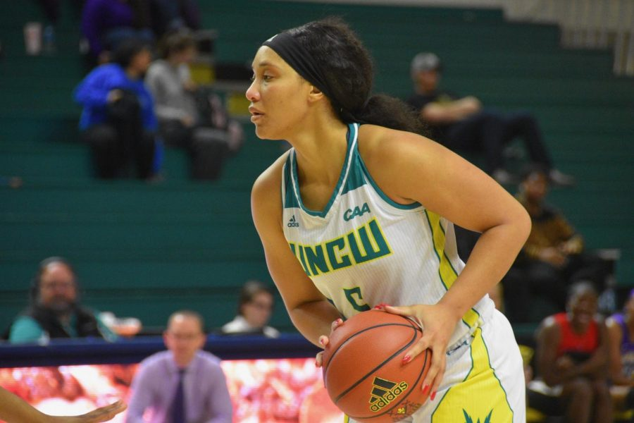 GiGi Smith (5) during UNCW's matchup with James Madison on Jan. 18, 2019.