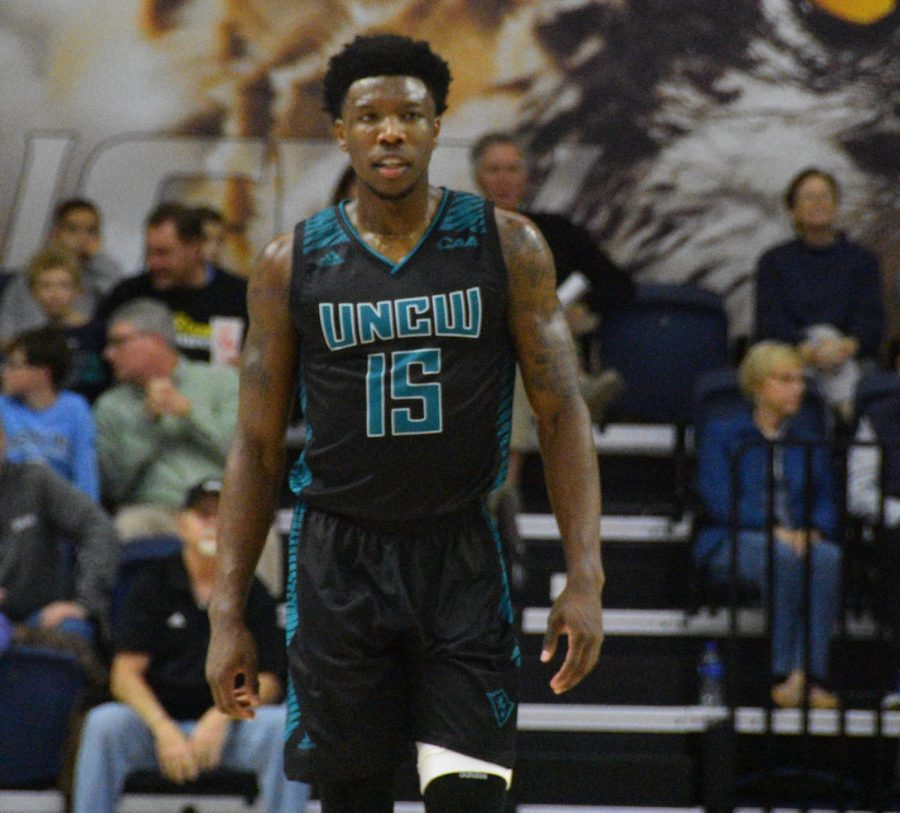 Devontae+Cacok+%2815%29+during+UNCW%27s+Thursday+night+matchup+with+William+%26+Mary+on+Jan.+24%2C+2019.