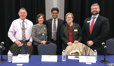 From left to right: Dr. W. David Webster, Dr. Michelle Scatton-Tessier, Dr. Aswani Valety, Dr. Kemille Moore, and Dr. Jess Boersma at the first Open Students Forum of the semester in the Warwick Center ballroom on Tuesday, Feb. 19.