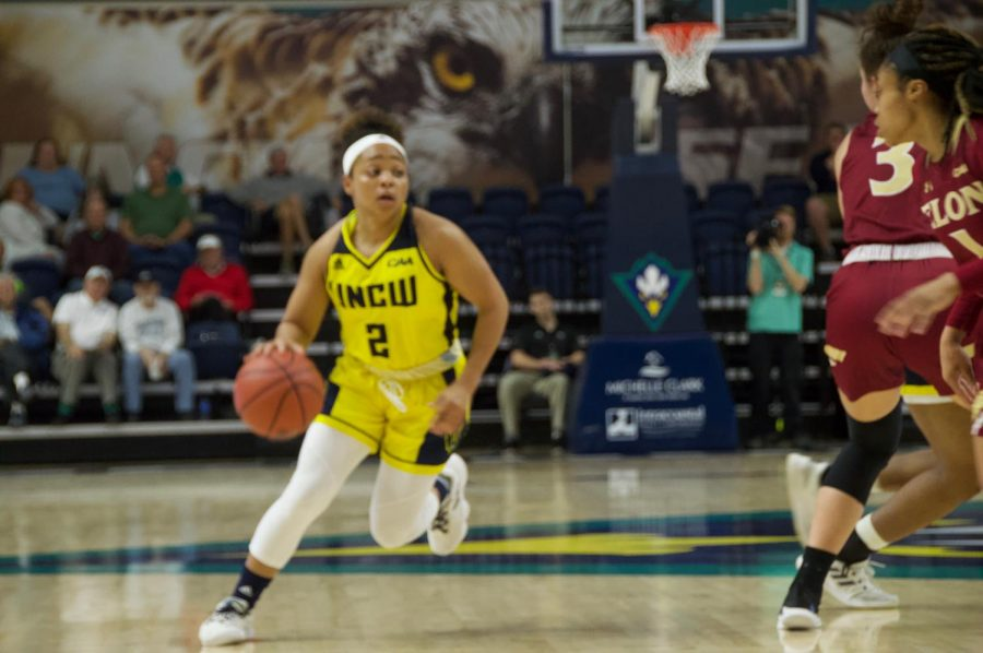 Moriah Crisp (2) dribbles up court against Elon on Feb. 8 in Trask Coliseum.