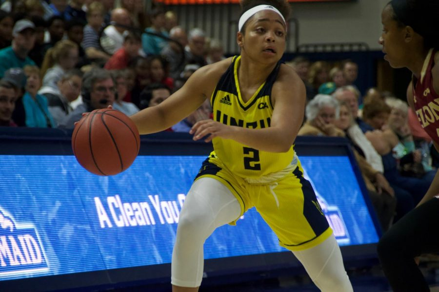 Moriah+Crisp+%282%29+dribbles+against+Elon+on+Feb+8+in+Trask+Coliseum.+