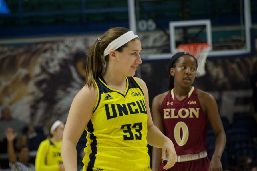 Grace Sacco (33) checks in late against Elon on Feb 8 in Trask Coliseum.