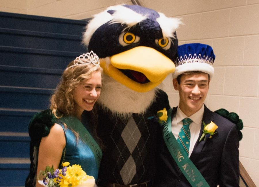 From left: Homecoming Queen Lauren Deane, Sammy C. Hawk and Homecoming King Alexander Hoffman