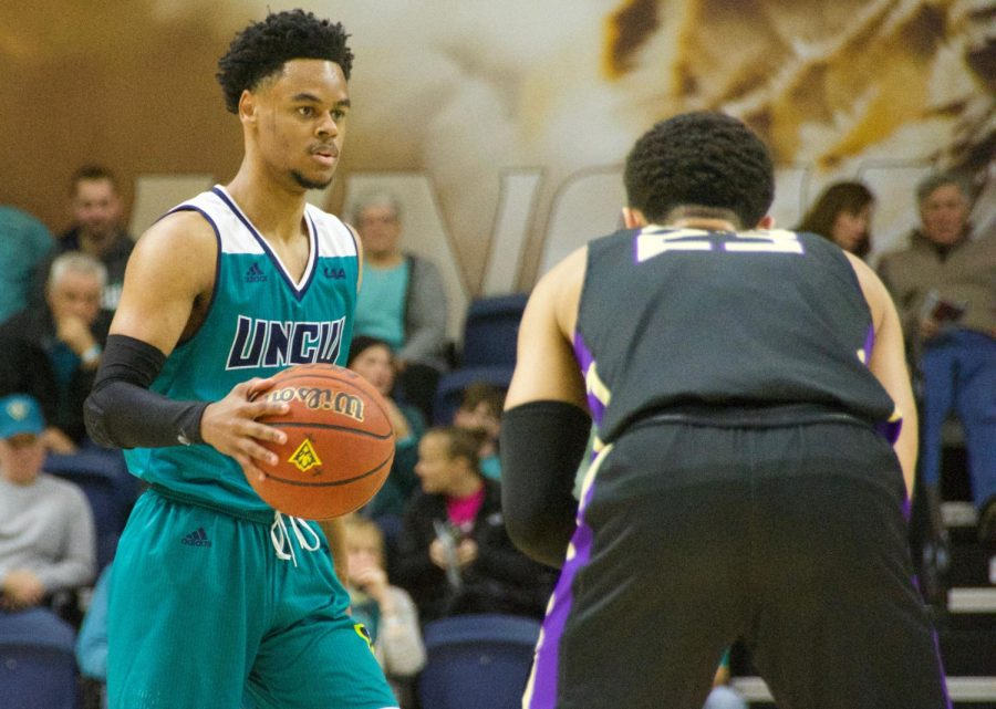 Ty Gadsden (0) during UNCW's Homecoming matchup against James Madison on Feb. 2, 2019.