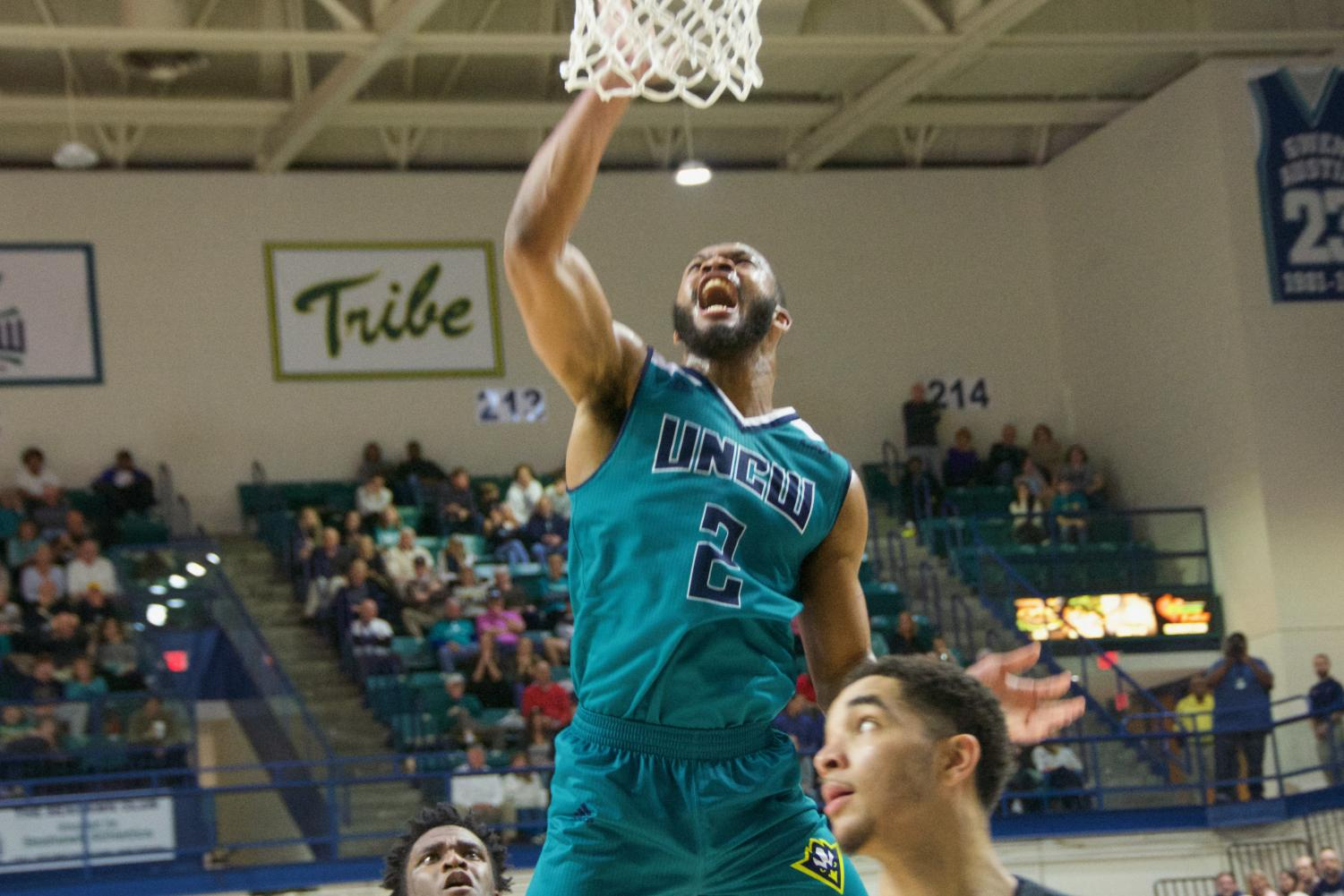 Jeantal Cylla (2) goes up to the rim during UNCW's Homecoming matchup against James Madison on Feb. 2, 2019.