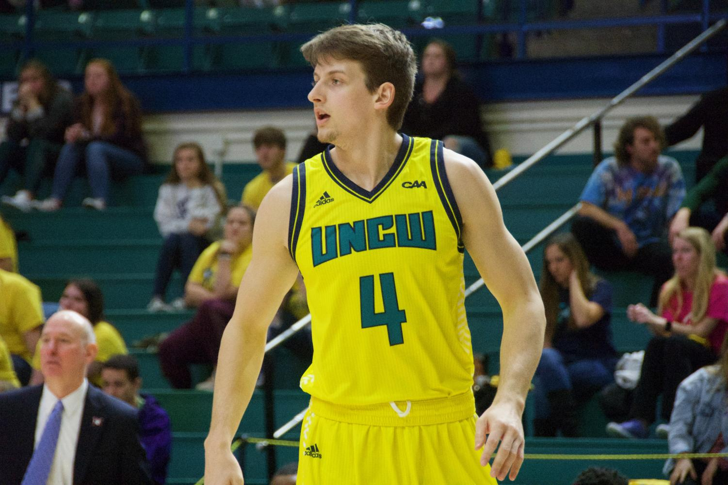 Shawn O'Connell during UNCW's matchup with Northeastern on Feb. 14, 2019