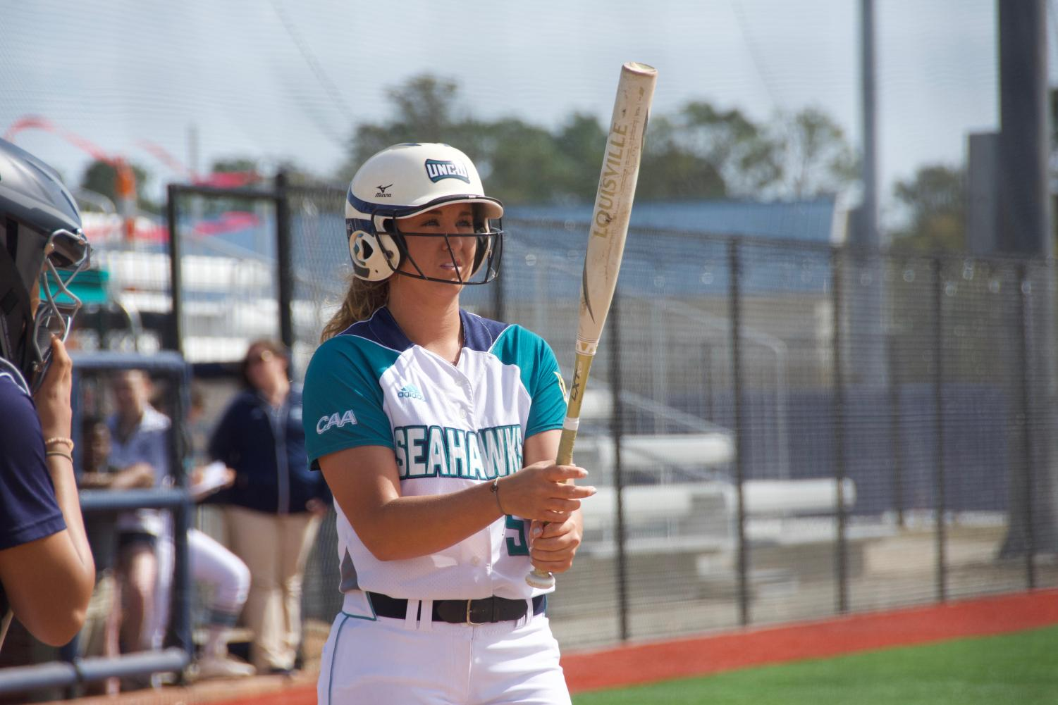 Lacey Fox (5) during UNCW's matchup with Howard in the Fairfield Inn & Suites Seahawk Softball Bash on Feb. 15, 2019.