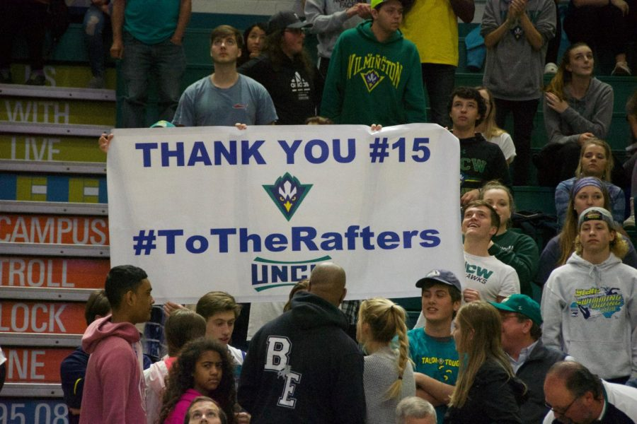 Members+of+the+student+section+thank+UNCW+standout+Devontae+Cacok+before+the+Seahawks%27+Senior+Night+matchup+with+Hofstra+on+Feb.+16%2C+2019.
