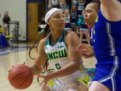 GiGi Smith (5) during UNCW's contest against Delaware in Trask Coliseum on Feb. 24, 2019.