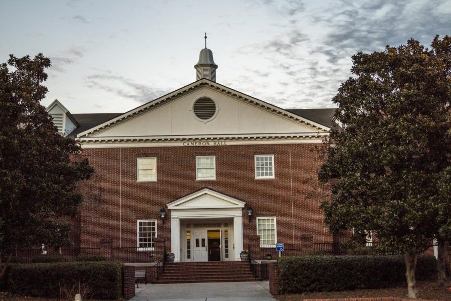 Cameron Hall, which houses the Cameron School of Business.
