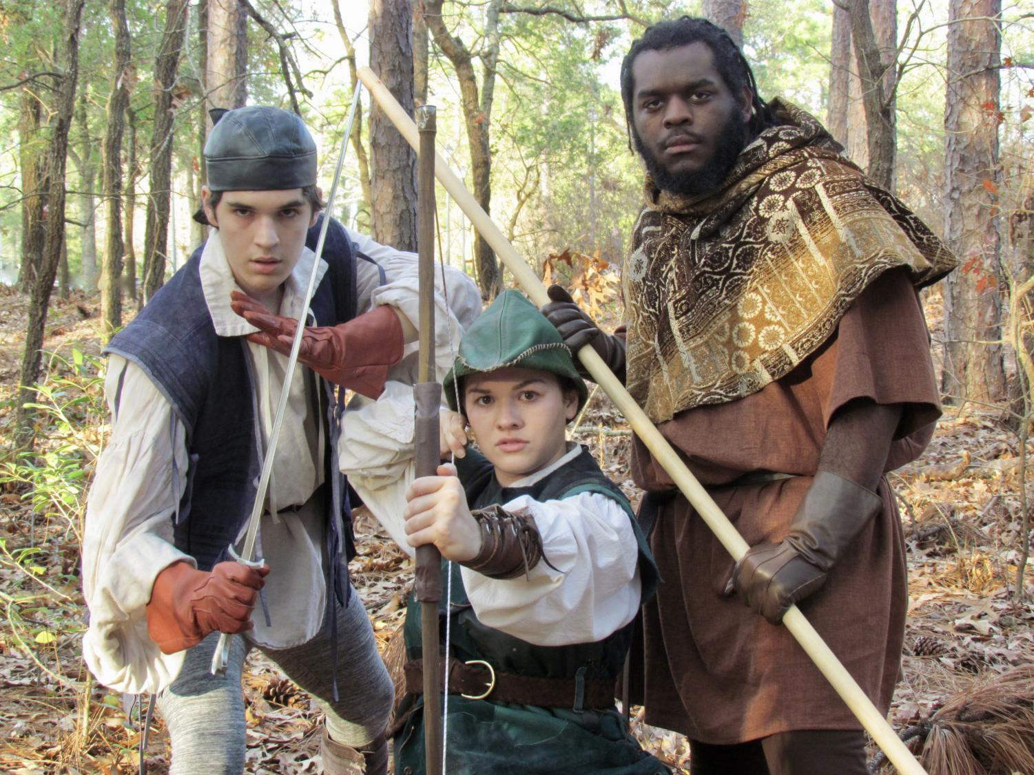 Nicky Taylor as Tommy of No Consequence, Katherine Carr as Robin Hood, Elisha McNeil as Little John. Photographer - Rebecca Edmonds