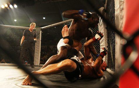 Derek Brunson (top) in UFC fight.