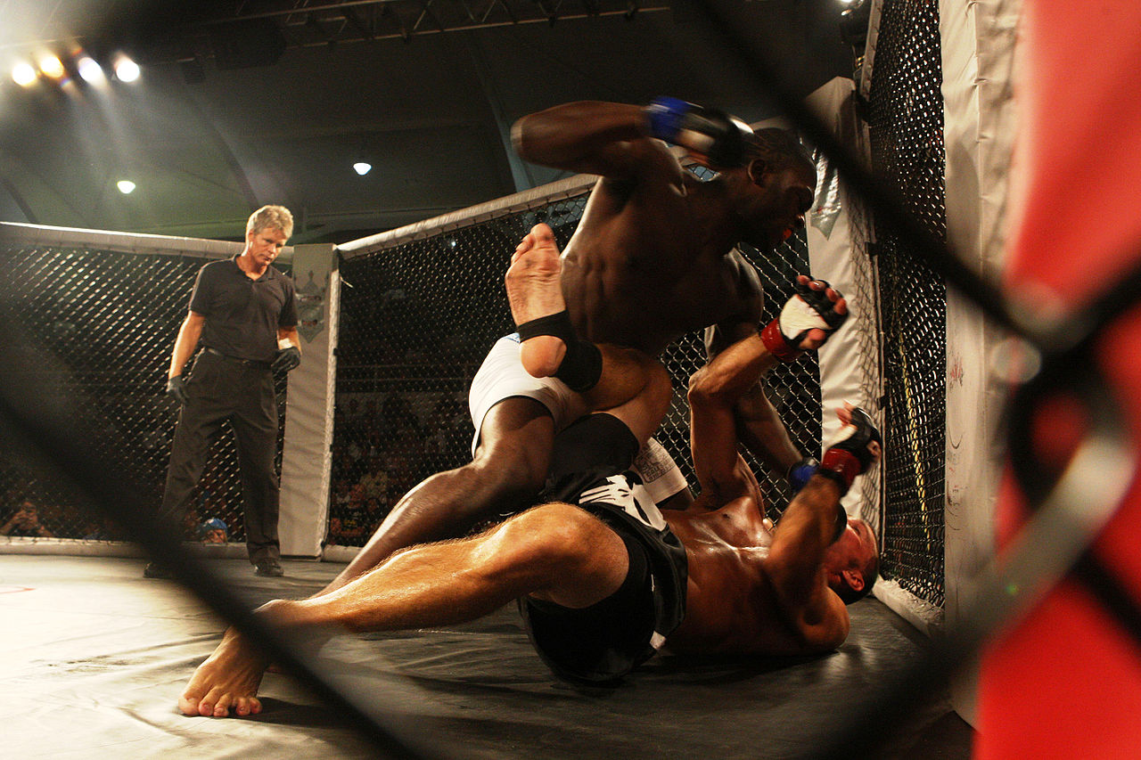 Derek Brunson (top) in UFC fight.