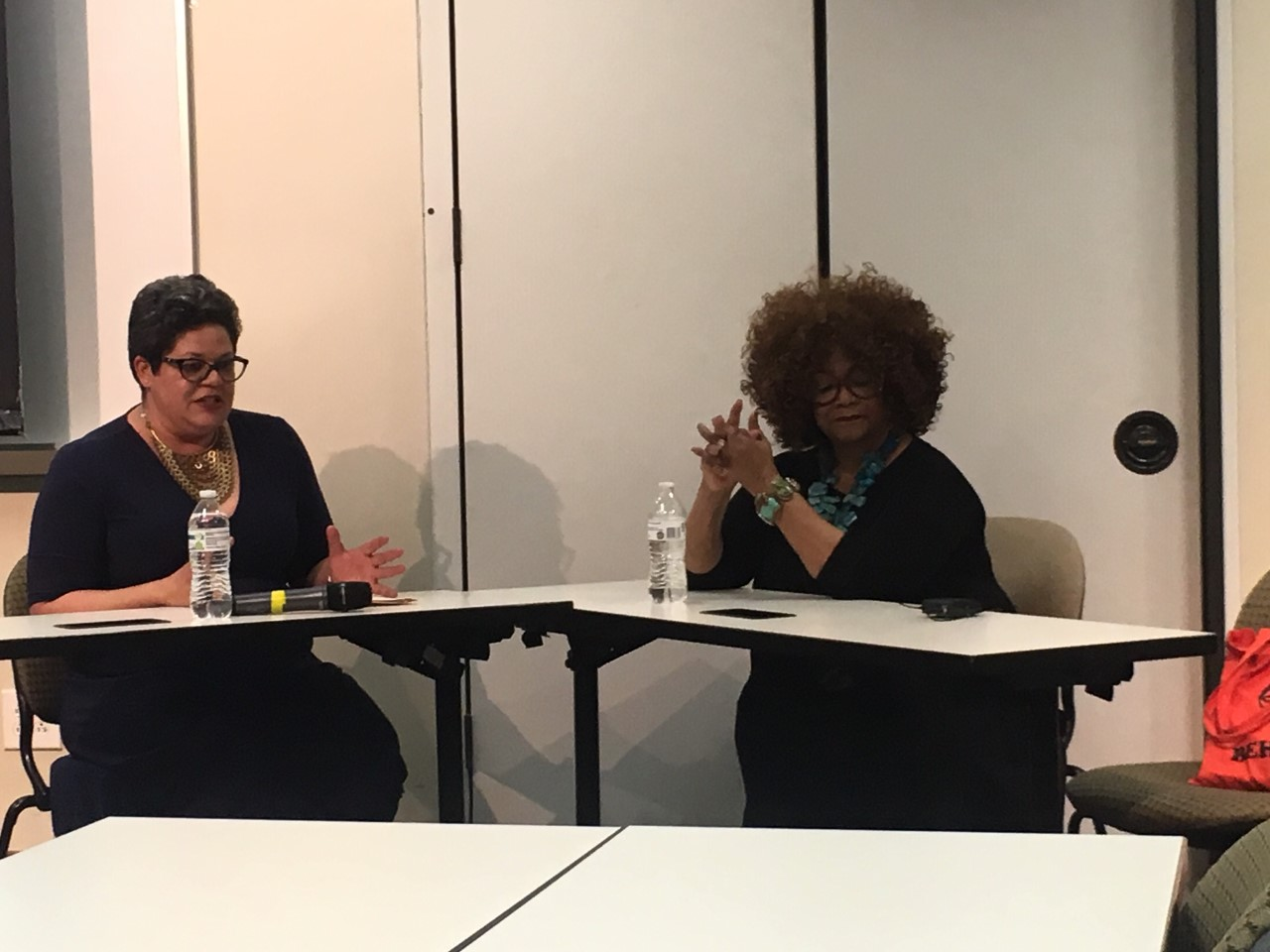 Dr. Tiffany Gilbert, left, and Jacki Shelton Green, right, at Green's Q&A forum at the Watson College of Education on Wednesday.